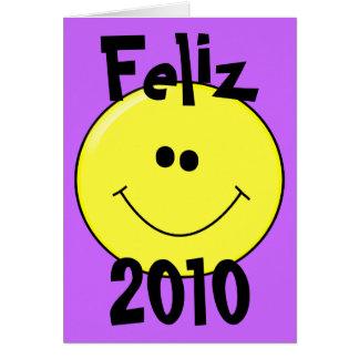 Feliz 2010年-カードの微笑のスマイリー カード