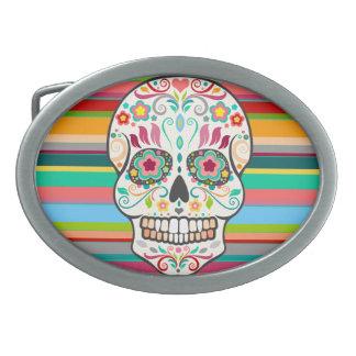 Feliz Muertos -お祝いの砂糖のスカルのベルトの留め金 卵形バックル