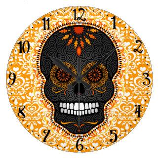 Feliz Muertos -幸せな砂糖のスカルの柱時計 ラージ壁時計