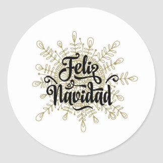 Feliz Navidadのスペインのなクリスマスのステッカー ラウンドシール