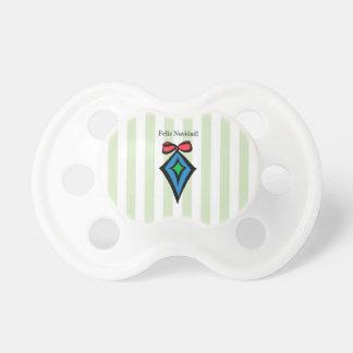 Feliz Navidadのダイヤモンドのオーナメントのベビーの調停者の緑 おしゃぶり