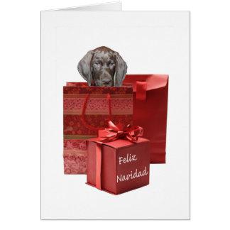 Feliz NavidadのドイツshorthairedポインターChistmas カード