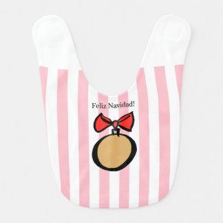Feliz Navidadの金ゴールドの円形のオーナメントのベビー用ビブのピンク ベビービブ