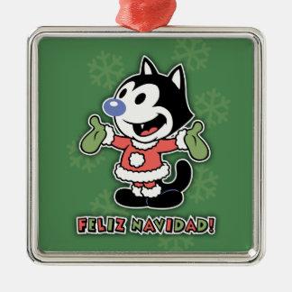 Feliz Navidad猫 メタルオーナメント