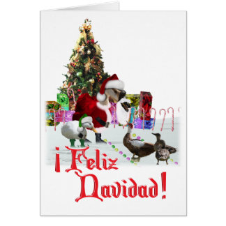 Feliz Navidad -クリスマスのサンタのガチョウw/Ducks カード