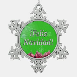 ¡ Feliz Navidad! スペインのなwfのメリークリスマス スノーフレークピューターオーナメント