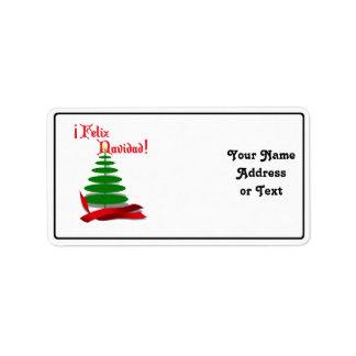 Feliz Navidad -赤いリボンが付いているクリスマスツリー ラベル