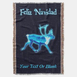 Feliz Navidad -青いカリブー(トナカイ) スローブランケット