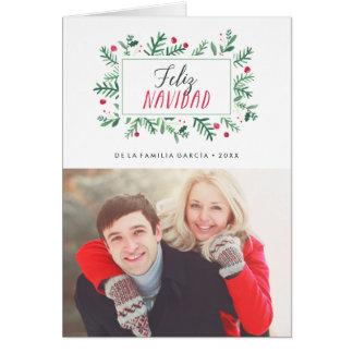 Feliz Navidad Pintado Follaje | Tarjeta de Navidad カード