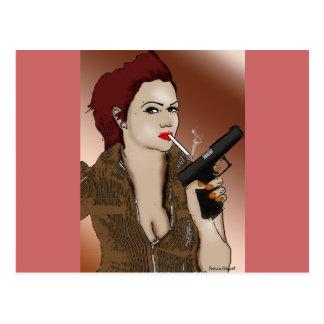 Femme Fatale -喫煙および銃 ポストカード
