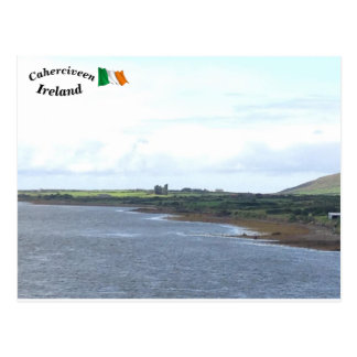 Ferthaの川のBallycarberryの城、ケリー、アイルランド ポストカード
