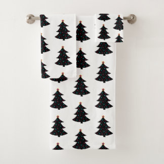 Festive Black Christmas Trees Pattern Lights Stars バスタオルセット
