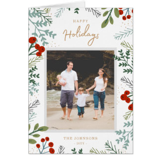 Festive Frame Holiday Photo Card カード