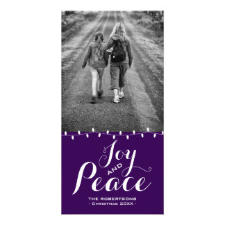 Festive Purple Joy + Peace | Christmas Photo Cards カード