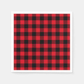 Festive Red Plaid Pattern Holiday スタンダードカクテルナプキン