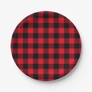 Festive Red Plaid Pattern Holiday ペーパープレート