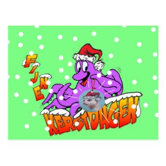 Fijne Kerstdagen Octopus Briefkaart ポストカード