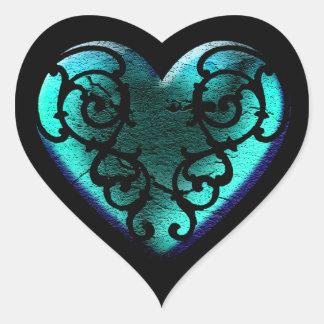 Filigree Goth Ice Blue Heart ハートシール