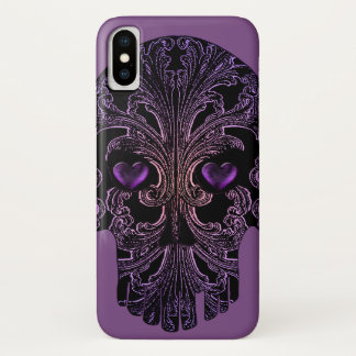 Filigree Skull in Shades of Purple iPhone X ケース