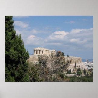 Filopappouの丘からのアクロポリスの眺め ポスター