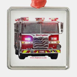Fire_Truck_American_Flag メタルオーナメント