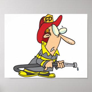 Firehose乾燥したポスターを持つ消防士 ポスター