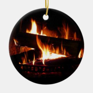 Fireplace Warm Winter Scene Photography セラミックオーナメント