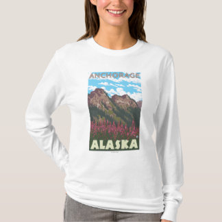 Fireweed及び山-アンカレッジ、アラスカ Tシャツ