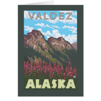 Fireweed及び山- Valdez、アラスカ カード