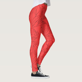Fitness leggings with natural pattern in red レギンス