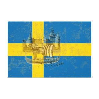 Flag and Symbols of Sweden ID159 キャンバスプリント