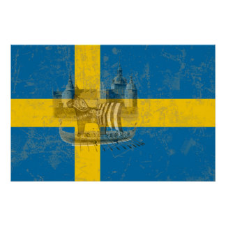 Flag and Symbols of Sweden ID159 ポスター