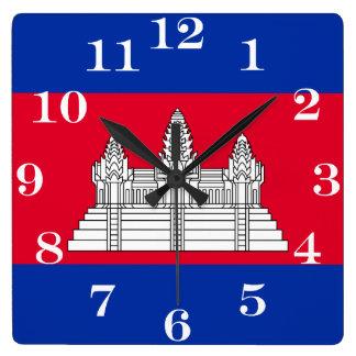 Flag of Cambodia スクエア壁時計