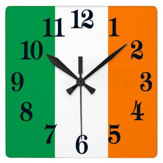 Flag of Ireland Shamrock スクエア壁時計