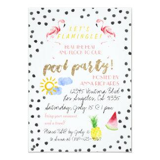 Flamingleは! プールのパーティの招待状 カード