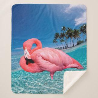 Flamingo and Palms シェルパブランケット