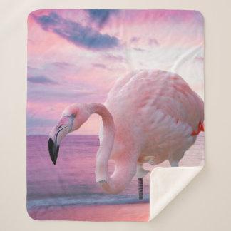 Flamingo and Pink Sky シェルパブランケット
