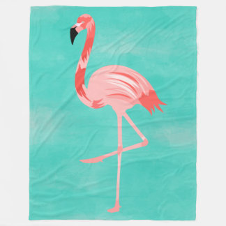 Flamingo Bird on Turquoise Background フリースブランケット