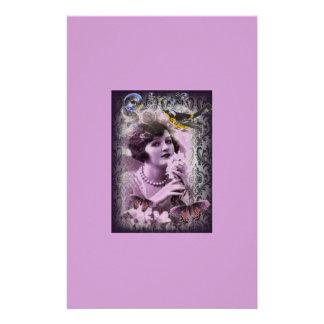 Flapper Girlパリジャズヴィンテージのダマスク織の20年代の女性 便箋