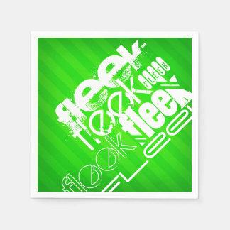 Fleek; ネオン緑のストライプ スタンダードカクテルナプキン