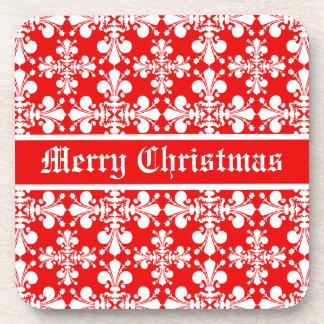 fleur de lysのダマスク織のMrryのエレガントなクリスマス コースター