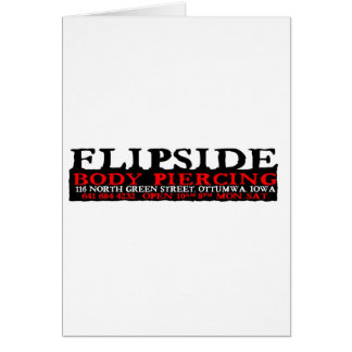 Flipsideの黒くおよび赤いロゴ カード