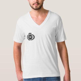 Flo Musiqueのロゴの白人のVの首T Tシャツ