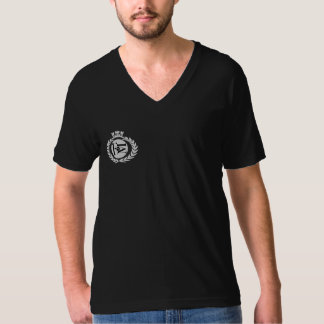 Flo MusiqueのロゴBlkの人のV首T Tシャツ