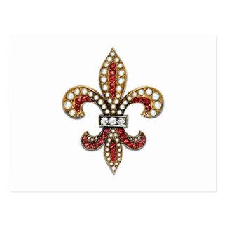 Flor De Lisの(紋章の)フラ・ダ・リの宝石ニュー・オーリンズ はがき