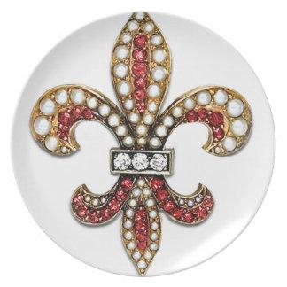 Flor De Lisの(紋章の)フラ・ダ・リの宝石ニュー・オーリンズ プレート