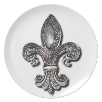 Flor De Lisの(紋章の)フラ・ダ・リの記号ニュー・オーリンズ プレート