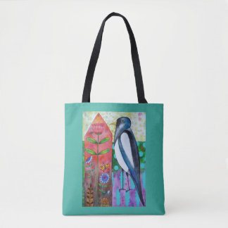 Flora and Fauna Magpie Flowers Tote Bag トートバッグ