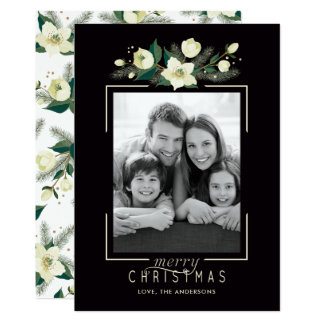 Floral and Pine Photo Christmas Card カード