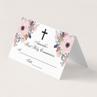 Floral Cross First Communion Custom Place Card プレイスカード